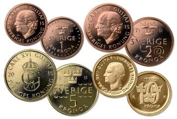 Bildmontage på Sveriges mynt