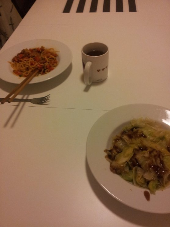 Chinese main dish and cabbage with oyster sauce